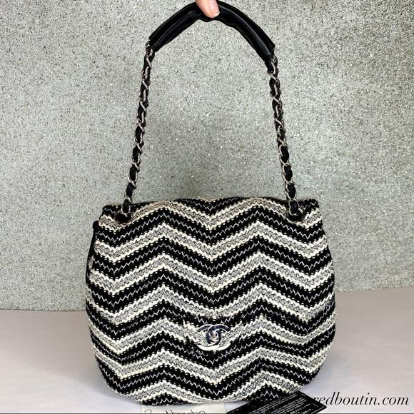 CHANEL Handbags - Chanel tweed Classic Flap Shoulder Bag Cc Silver